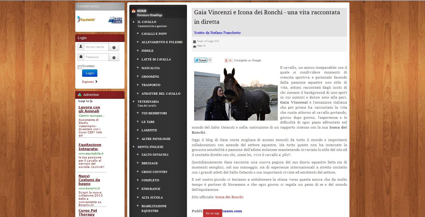 Gaia Vincenzi e Icona dei Ronchi - una vita raccontata in diretta_Horseason