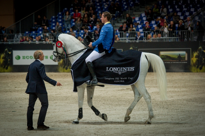 Christian Ahlmann Aragon Z first place award ceremony Gaia Vincenzi Longines FEI World Cup Verona Fiera Cavalli 2013