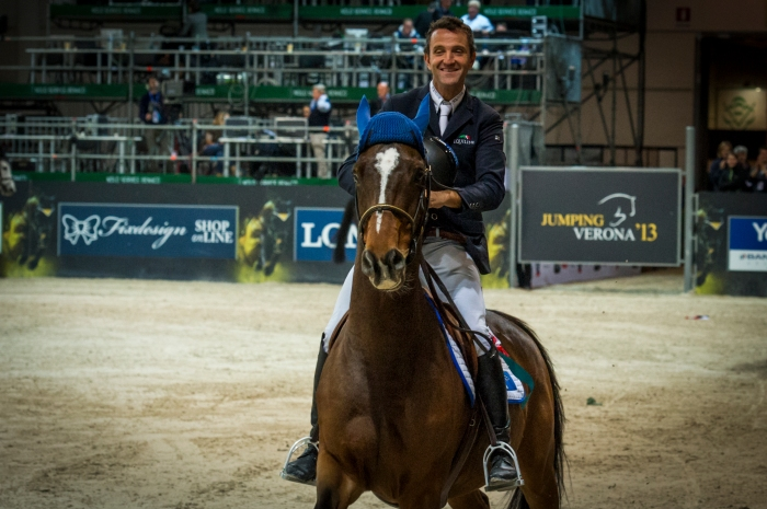 Luca Maria Moneta Neptune Brecourt second place award ceremony Gaia Vincenzi Longines FEI World Cup Verona Fiera Cavalli 2013