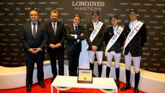 Jean-Louc Poulain, Director of CENECA; Christophe Ameeuw, Director of EEM; Juan Carlos Capelli, Vice President Longines and Head of International Marketing; Gregory Wathelet, 1st place; Bertam Allen, 2nd place; Daniel Deusser, 3rd place. - Longines Grand Prix 1.60