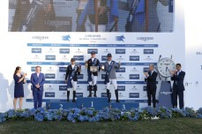 The podium of the LGCT Grand Prix of Rome: 1st Ben Maher (GBR), 2nd Marlon Modolo Zanotelli (BRA) and 3rd Ludger Beerbaum (GER). Trophies are presented by Jan Tops, Daniele Frongia, Fabrizio Giaccon and Eleonora Di Giuseppe